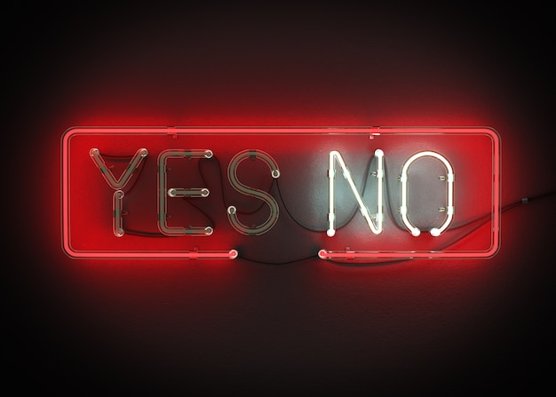 Sí o no, signo hecho de alfabeto de neón en un fondo negro representación 3d
