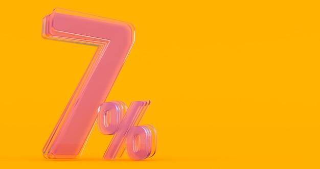 Siete (7) por ciento en vidrio, número de vidrio 3d sobre fondo de banner de color, render 3d