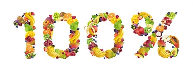 Signo 100% hecho de frutas y bayas aisladas en blanco, concepto 100% natural