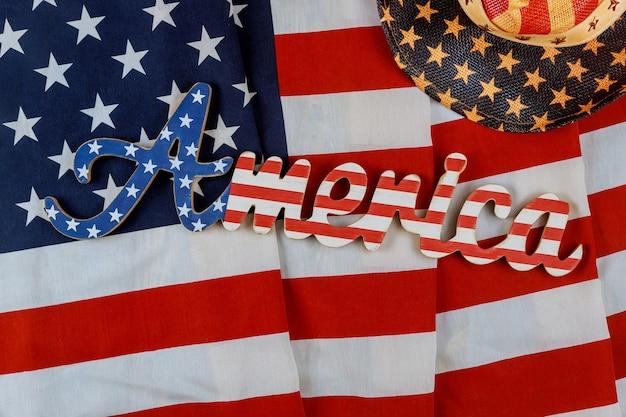 Signo de américa carta decorada día de los caídos en la bandera americana en el patriotismo estados festivos nacionales de ee.uu.