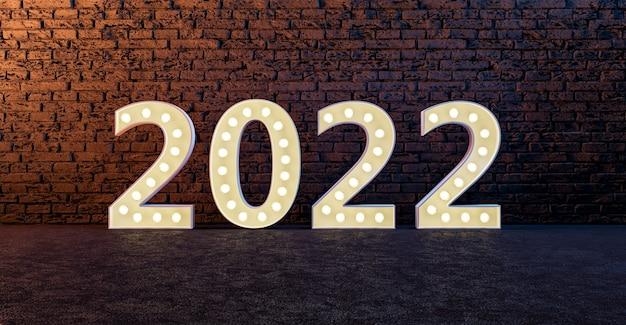 Signo de año nuevo 2022 en pared de ladrillo