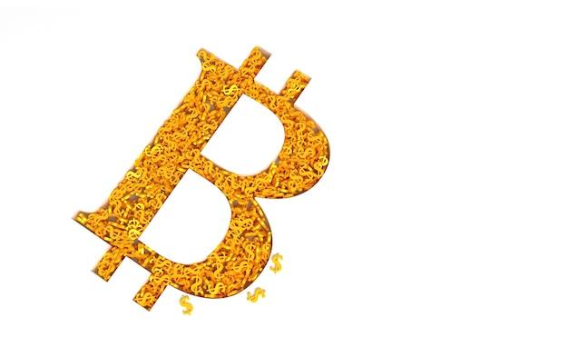 Signo de bitcoin lleno de signos de dólar de oro