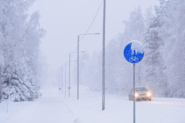 Signo de un carril bici y un peatón en la carretera en invierno