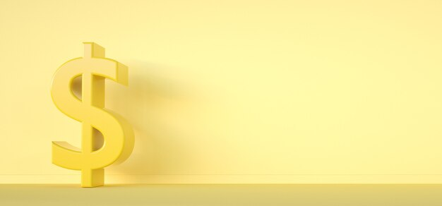 Signo de dólar. concepto de dinero símbolo 3render sobre fondo amarillo.