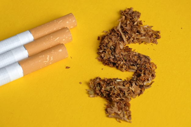Signo de dólar estadounidense de tabaco con cigarrillos en amarillo