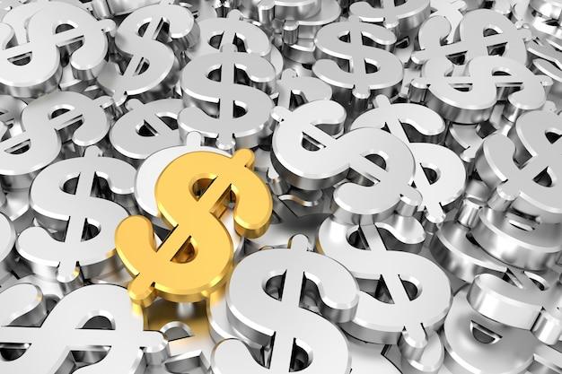 Signo de dólar de oro en medio de signos de dólar de plata. representación 3d.
