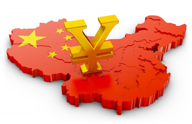 Signo dorado del yuan en el mapa de china. representación 3d