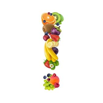Signo de exclamación hecho de diferentes frutas y bayas