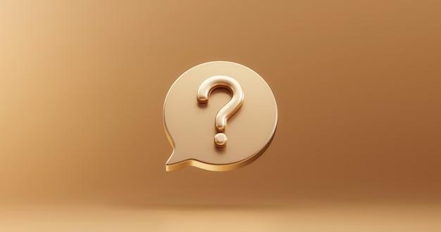 Signo de icono de burbuja de signo de interrogación de oro o pregunta solución de respuesta de preguntas frecuentes y símbolo de negocio de ilustración de soporte de información sobre fondo dorado con idea gráfica de problema o concepto de ayuda. representación 3d.