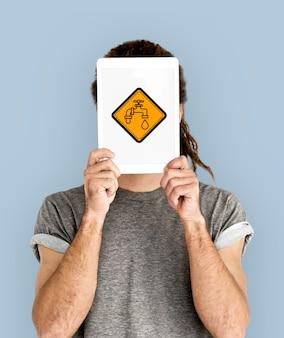 Signo de icono de gota de grifo de agua del grifo