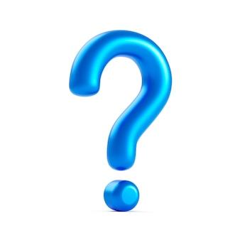 Signo de icono de signo de interrogación azul o pregunta solución de respuesta de preguntas frecuentes y símbolo de negocio de ilustración de soporte de información aislado sobre fondo blanco con idea gráfica de problema o concepto de ayuda. representación 3d.