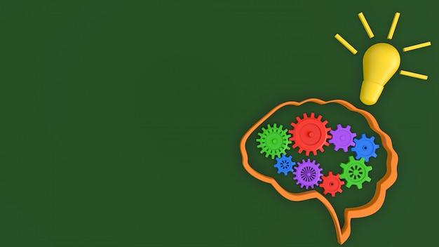 Signo de innovación de idea de cerebro y lámpara