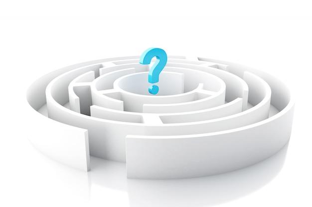 Signo de interrogación 3d en laberinto circular