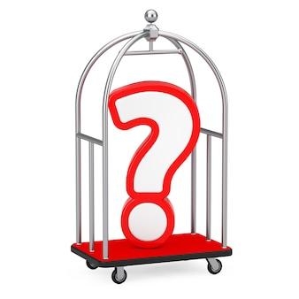 Signo de interrogación rojo y blanco en un carrito de equipaje de hotel de lujo cromado plateado sobre un fondo blanco. representación 3d