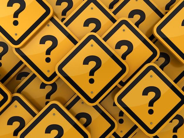 Signo de interrogación señales de tráfico de fondo