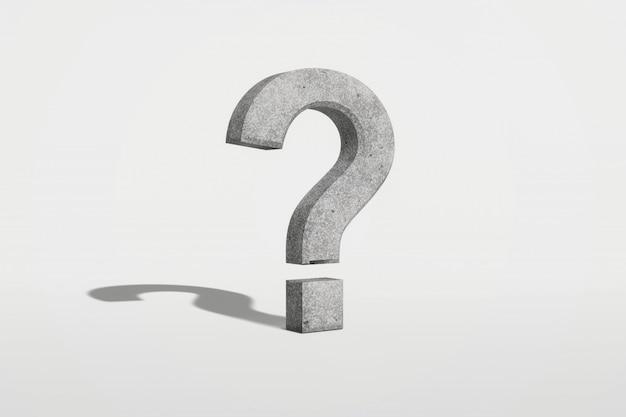 Signo de interrogación sobre un fondo blanco representación 3d