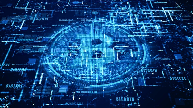 Signo de moneda de bitcoin en el ciberespacio digital, red para el dinero mundial