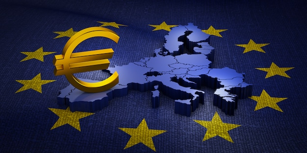 El signo de la moneda euro en el mapa volumétrico de la unión europea. representación 3d