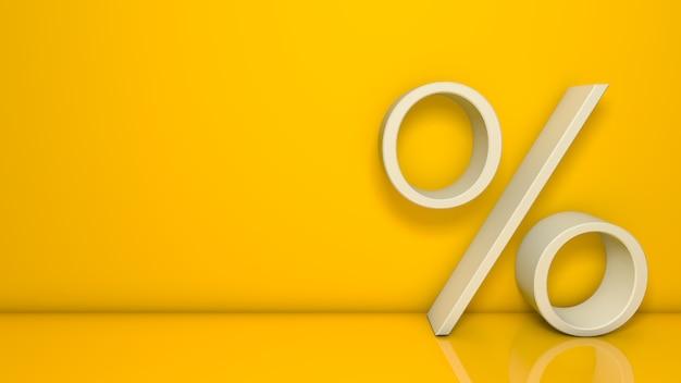 Signo de porcentaje de representación 3d aislado apoyándose sobre fondo amarillo con espacio para texto