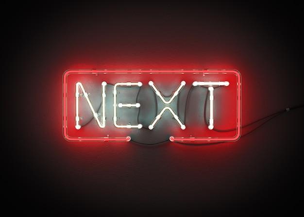 Signo siguiente hecho del alfabeto de neón en una representación 3d del fondo negro