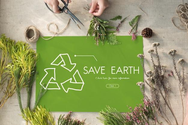 Signo de símbolo de reciclaje respetuoso del medio ambiente de la naturaleza