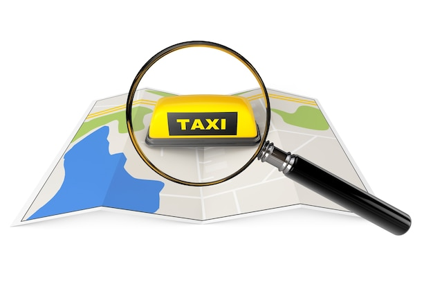 Signo de taxi con lupa sobre mapa sobre un fondo blanco.