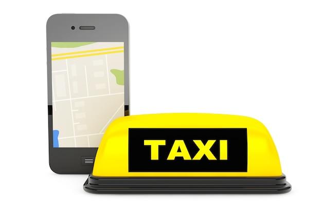 Signo de taxi con teléfono móvil y mapa sobre un fondo blanco.