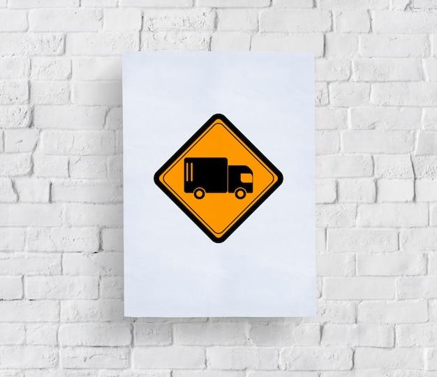 Signo de transporte logístico de camión camión