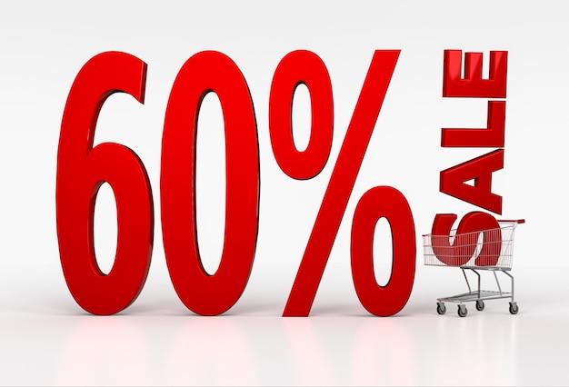Signo de venta de sesenta por ciento en carrito de compras en blanco. render 3d