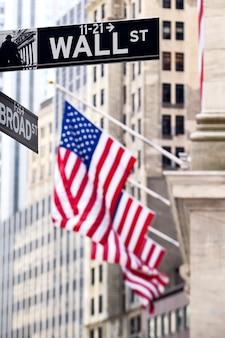Signo de wall street en nueva york con el fondo de la bolsa de valores de nueva york