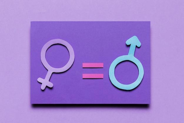 Signos de género femenino y masculino igual poder