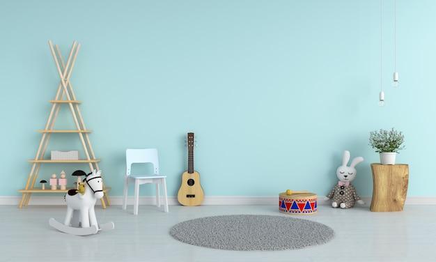 Silla azul y guitarra en la habitación infantil para maquetas, renderizado 3d