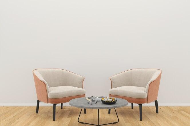 Silla beige de lujo dos piso de madera mesa de pared blanca copia espacio plantilla fondo