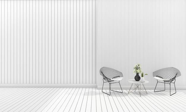 Silla blanca minimalista de diseño moderno con mesa