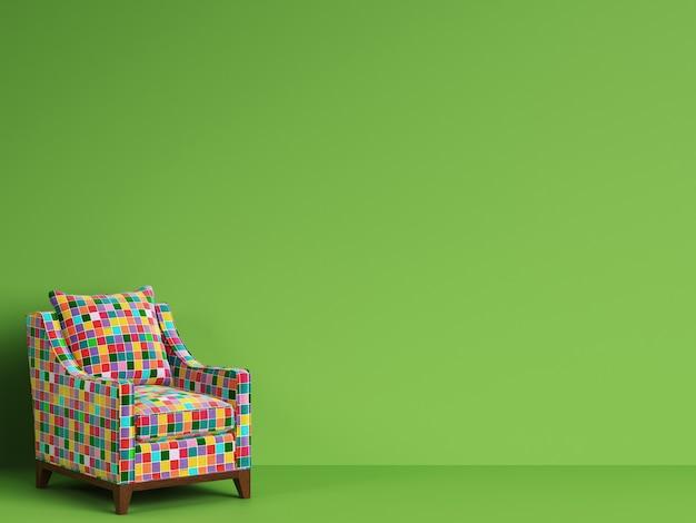 Silla clásica en tela de parches multicolores con espacio de copia