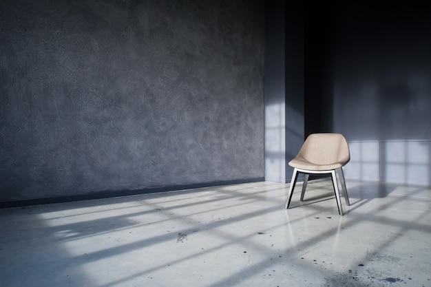 Silla de diseño en el interior de un loft negro studio