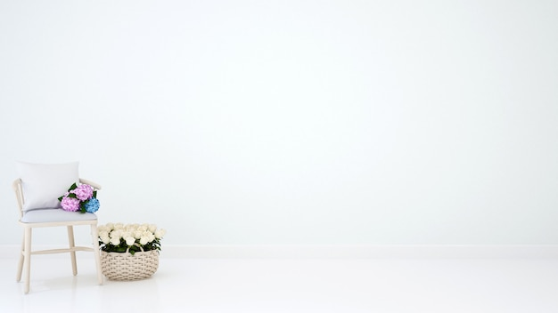Silla y florería para trabajos artísticos - representación 3d.