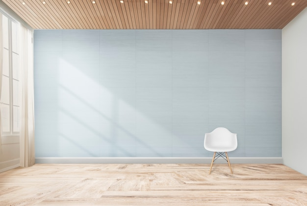 Silla en una habitación azul