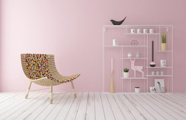 La silla está en la habitación rosa de la casa.