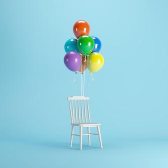 Silla de madera con globos de colores flotando sobre fondo azul.