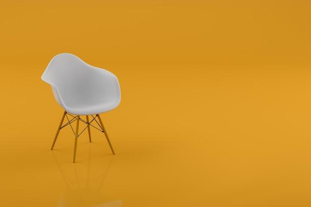 Silla moderna en sala de color amarillo pastel con espacio de copia. concepto mínimo. representación 3d