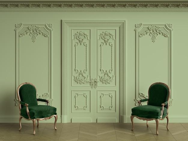 Sillas clásicas en interior clásico con espacio de copia. representación 3d