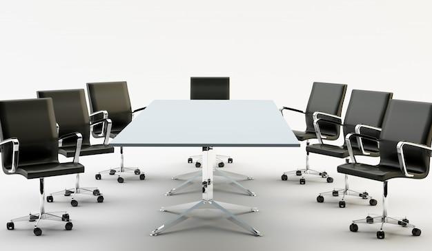 Sillas y mesa de oficina.