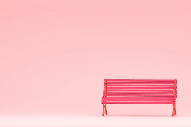 Sillas rosadas en muro de hormigón de color rosa pastel, 3d render.