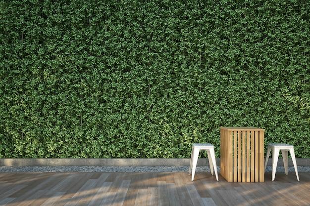 Sillas en la terraza de madera en el jardín.