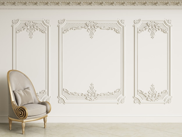 Sillón barroco clásico en interior clásico. paredes con molduras y cornisa decorada. piso de mármol. representación 3d