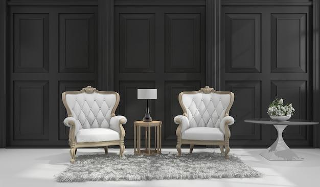 Sillón clásico 3d en habitación clásica negra