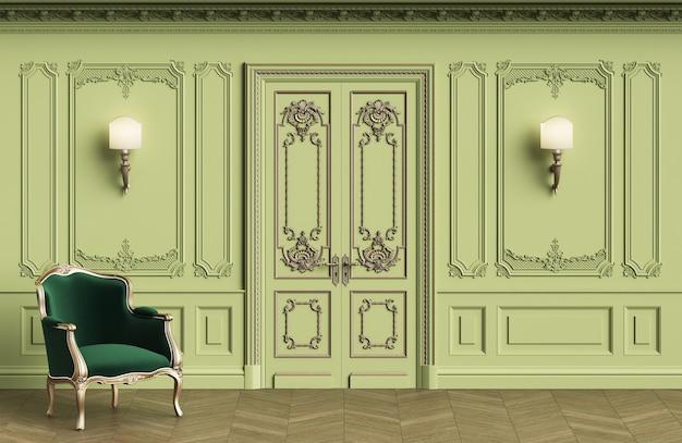 Sillón clásico en interior clásico con espacio de copia.