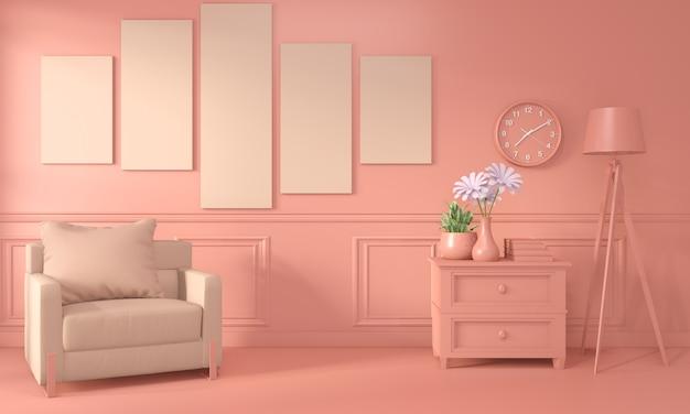 Sillón y decoración interior de sala color coral vivo. renderizado 3d