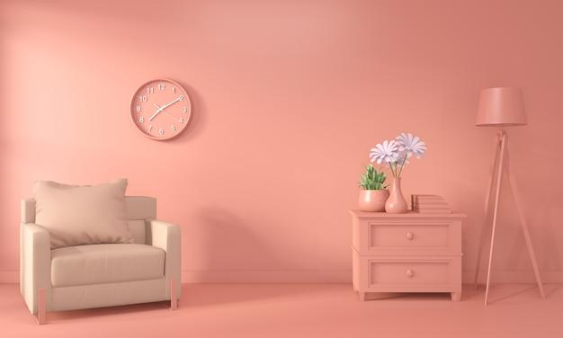 Sillón y decoración simulacro interior de sala color coral estilo vivo